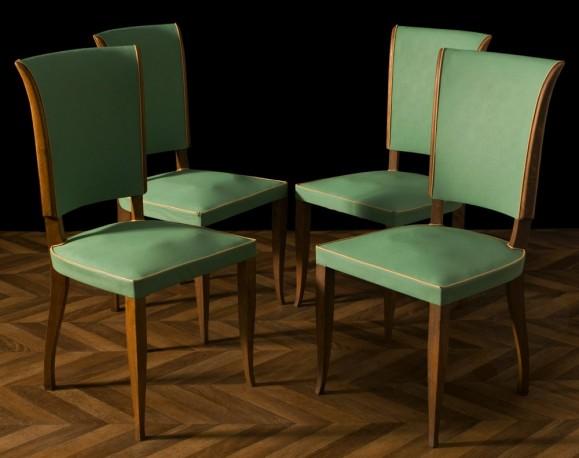 Quatre chaises moleskine 1950