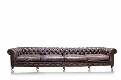 Canapé Chesterfield en cuir marron cigare 6 places 410cm de large