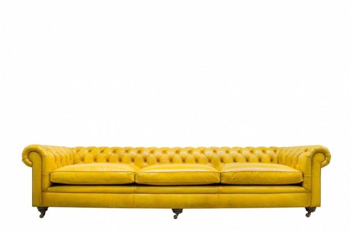 Canapé Chesterfield en cuir couleur citron 320 cm de large
