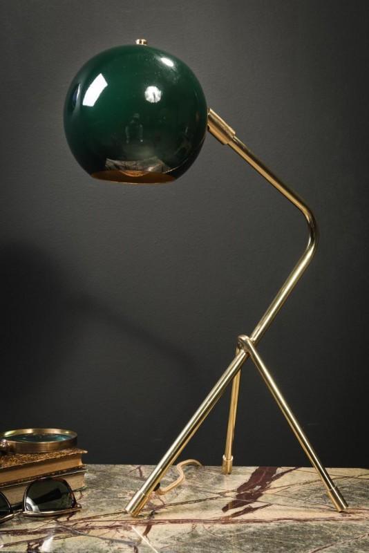 Belle Lampe De Bureau Tubulaire Laiton Avec Son Abat Jour Rond Vert