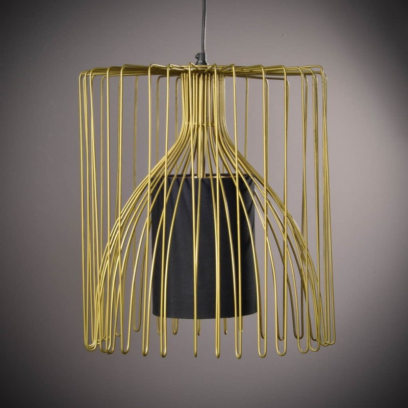 lustre cage en fer dor. Black Bedroom Furniture Sets. Home Design Ideas