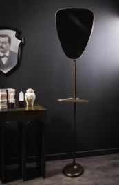 Brass Mirror on Stand with Shelf.
