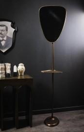Brass Mirror on Stand with Shelf.