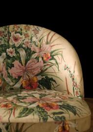 Chaises vintage au tissu fleuri 1950-60