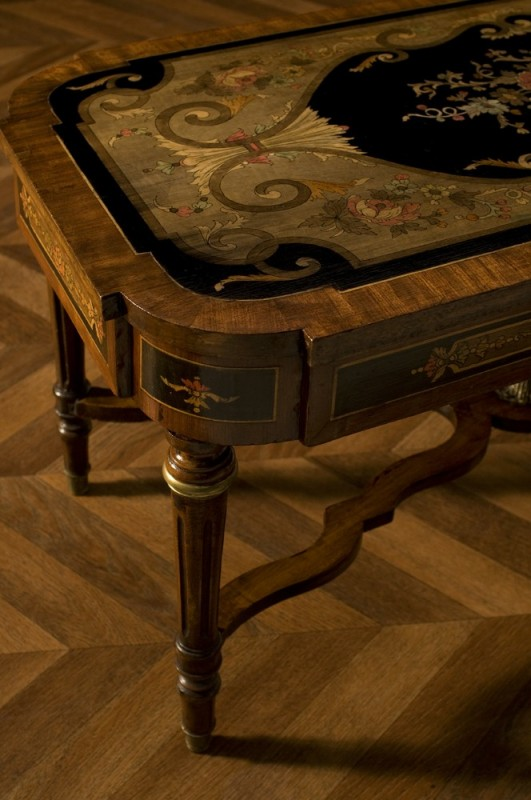 Antique Coffee Table Engraved Unique Old Vintage
