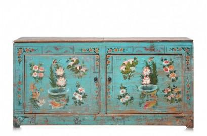 Blue Floral Vintage Sideboard
