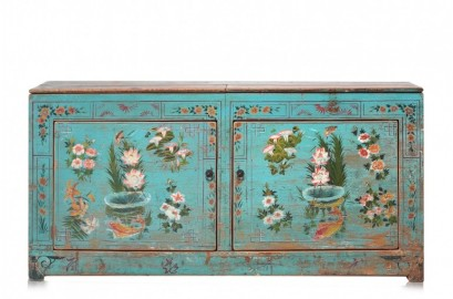Buffet Ancien Floral Bleu Magique - 154 cm