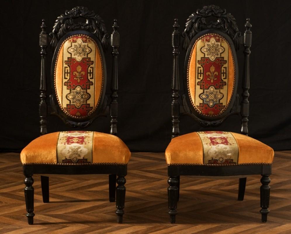 Chaises napol on 3 chaises anciennes meuble ancien poque napol on iii poirier noirci objet - Style chaises anciennes ...