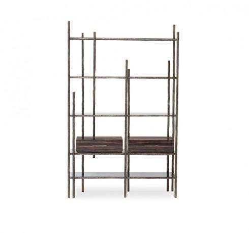 Bookcase, Brass and Ebony