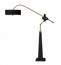 Lampadaire à cliquets, bois, acier et fonte