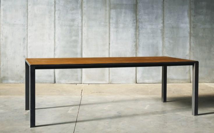 Table de repas Andy - Teck & Métal - 250 cm
