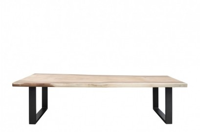 Dolmen Dining Table, Raw Wood and Metal Legs