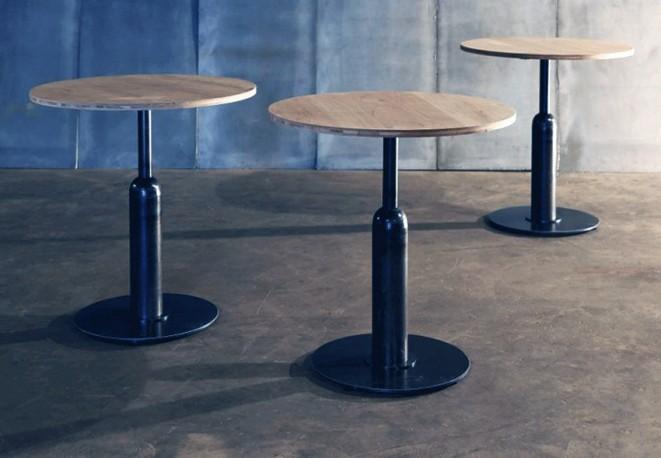 """Table Ronde """"Piston"""" Chêne - ∅ 70cm"""