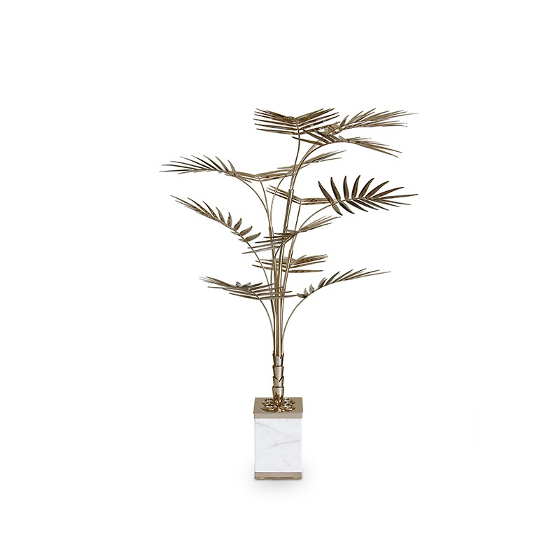 A great mid century floor lamp shaped as a palm tree that features paln tree floor lamp golded brass end carrara marble mozeypictures Images