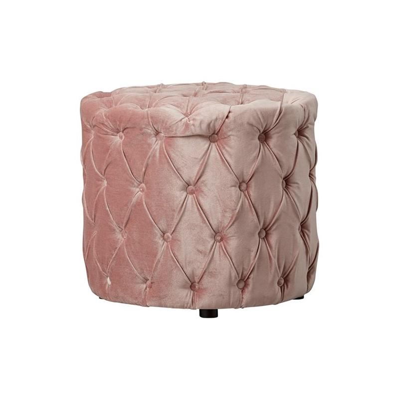 le pouf aeva romantique ottoman de style anglais en velours capitonn rose joliment travaill. Black Bedroom Furniture Sets. Home Design Ideas