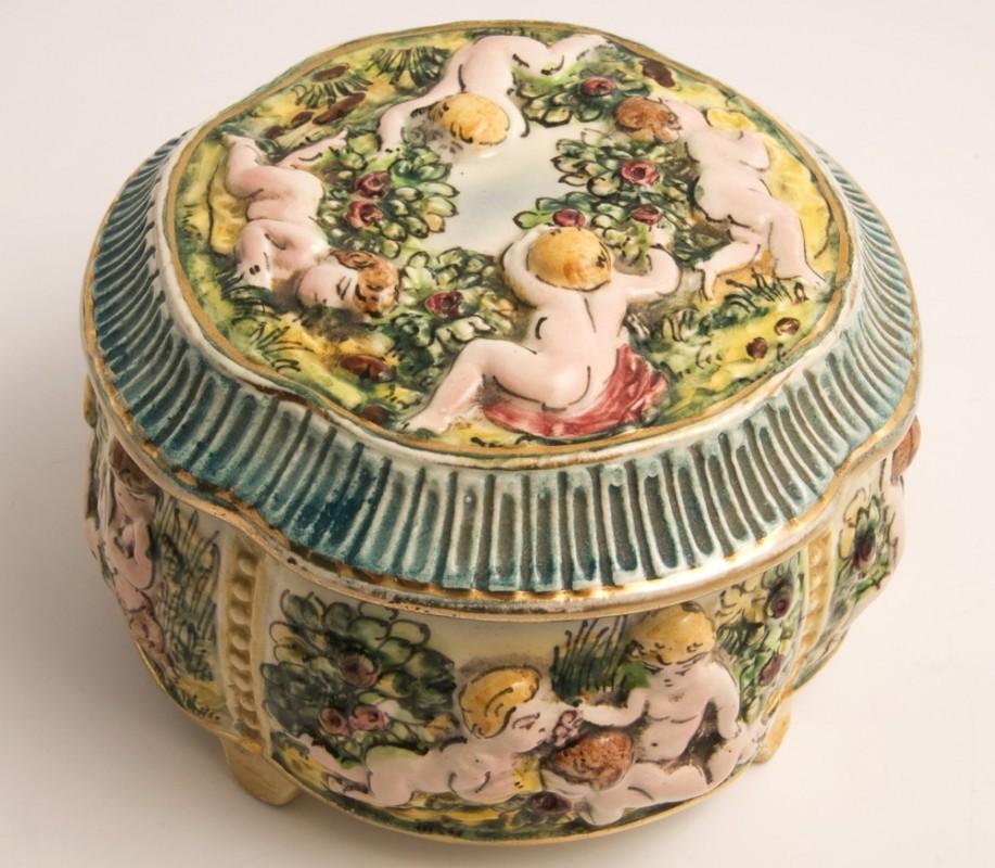 1950 Vintage Capodimonte Porcelain Bowl Antique Object