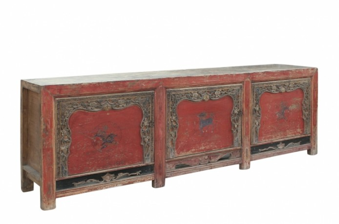 Red Antique Sideboard - 262 cm