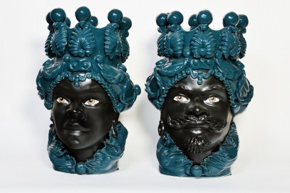 Ceramic Vases, Moor Heads, The Pair