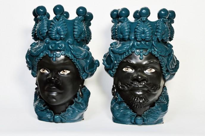 Ceramic Vases, Moor Heads, The Pair