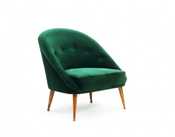 The Kelly Lounge Chair, Green Velvet, Luxury Movie Star Collection Mid  Century Design