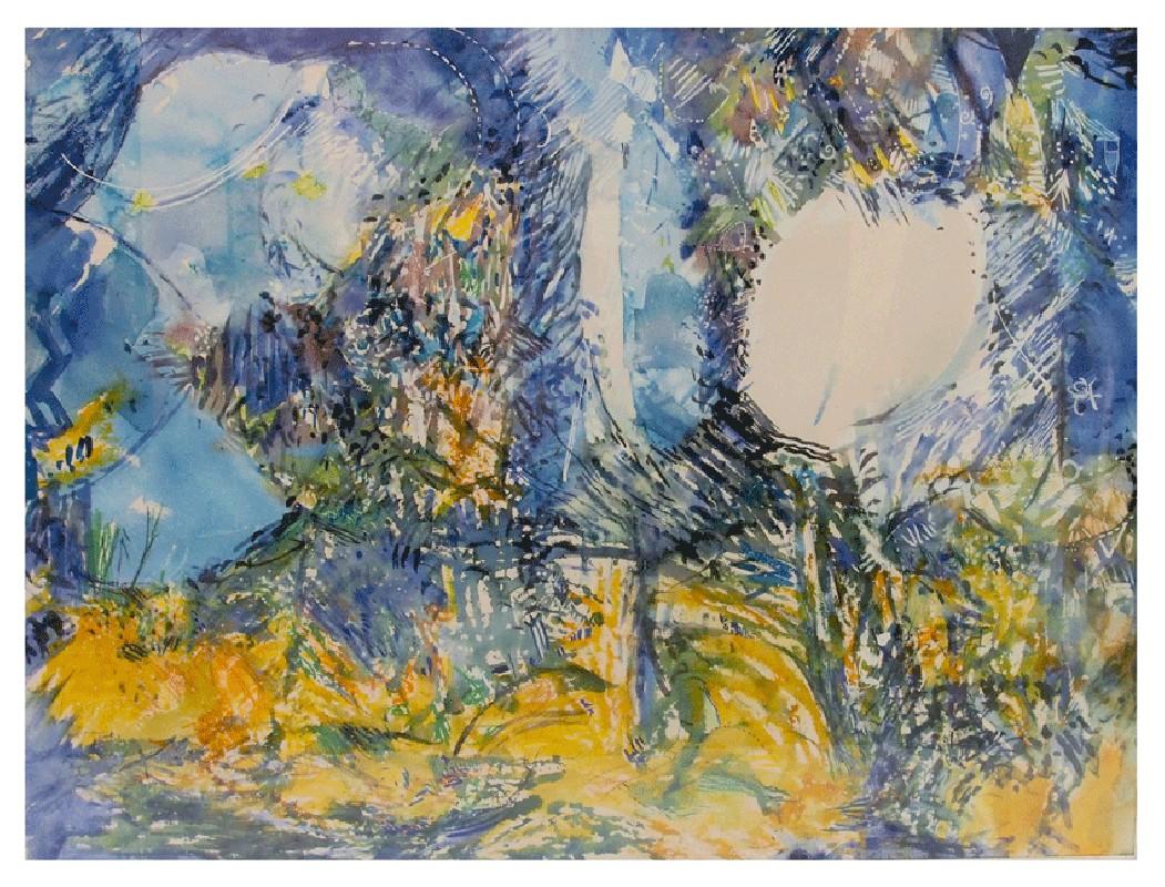 aquarelle sur papier torpeur d 39 t peinture contemporaine art abstrait fid lie cardi. Black Bedroom Furniture Sets. Home Design Ideas