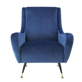 Lounge Chair Raffles, Deep Blue velvet