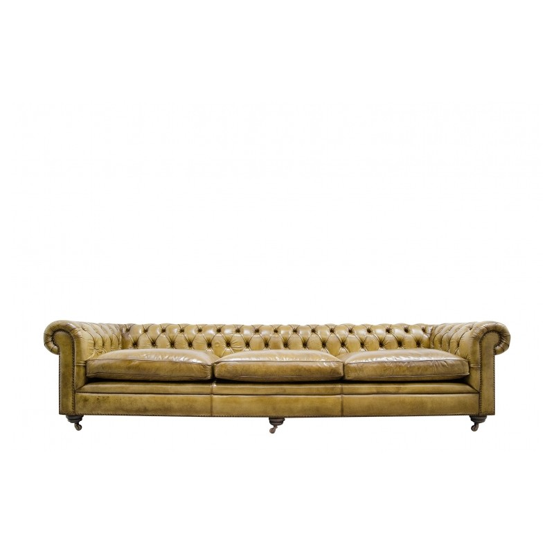 Beautiful Grand Chesterfield Leather Sofa Vintage Camel Light