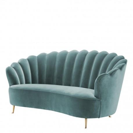 Superbe canapé velours noir Chiara dans le style vintage années 50.