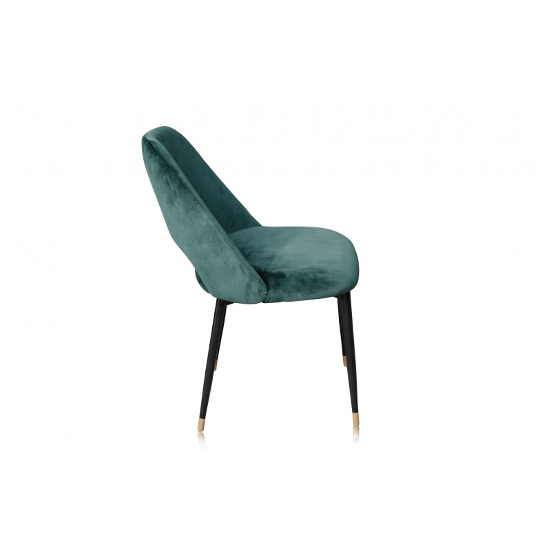 belle chaise de table healey avec son pi tement en m tal noir embouts en laiton et assise en. Black Bedroom Furniture Sets. Home Design Ideas