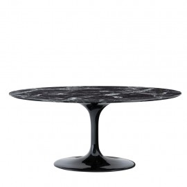 Contemporary Black Oval Marble Dining Table