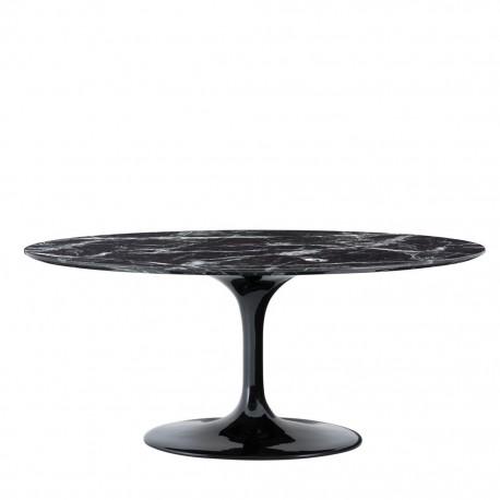 Belle Table Ovale Marbre Noir Ennio Avec Son Plateau De 170cm Sur