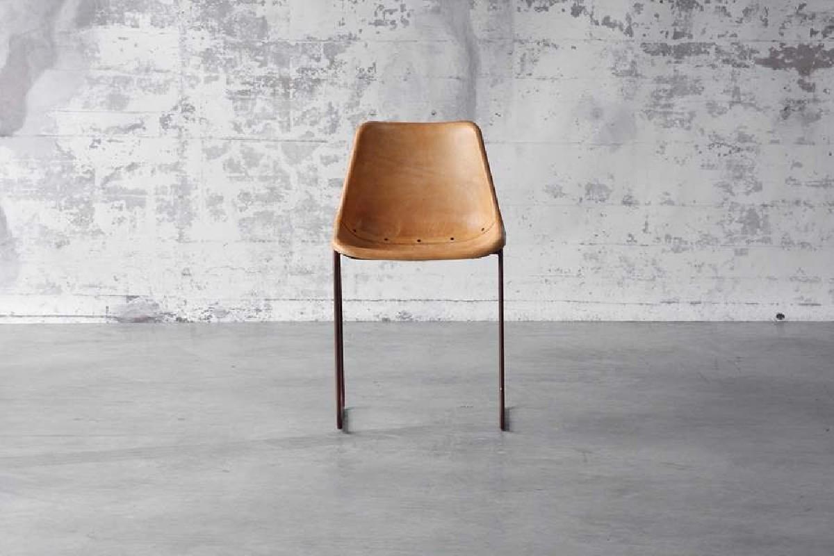 Chaise Godard En Cuir Vintage Brown