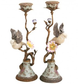 Candlesticks, Porcelain Flying Birds
