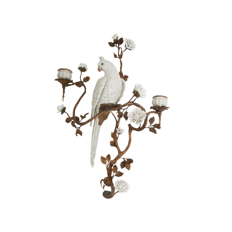 Parrot sconce left arteslonga for Bougeoir mural ancien