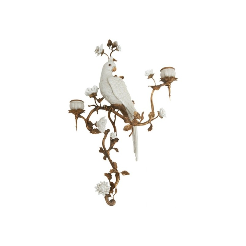 bougeoir mural bougeoir applique murale porcelaine perroquet perruche blanc blanche. Black Bedroom Furniture Sets. Home Design Ideas