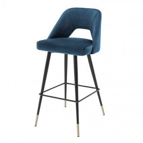 Chaise de Bar Velours Bleu Enzo