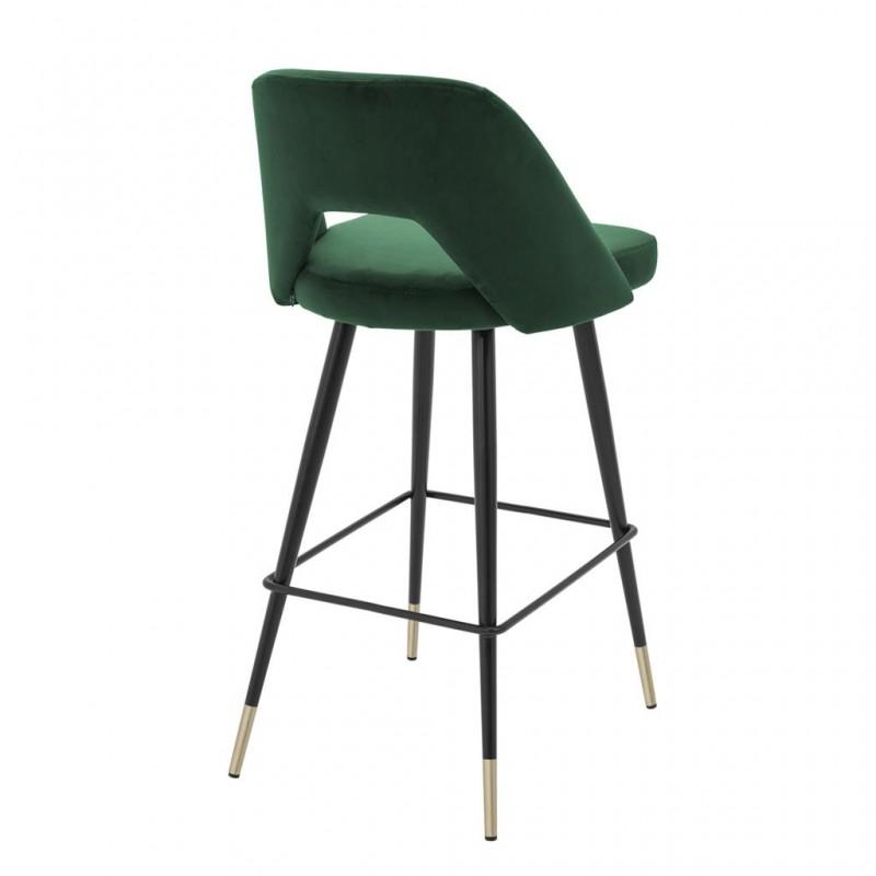 belle chaise de bar enzo avec son pi tement en m tal noir et laiton assise en velours bleu dans. Black Bedroom Furniture Sets. Home Design Ideas