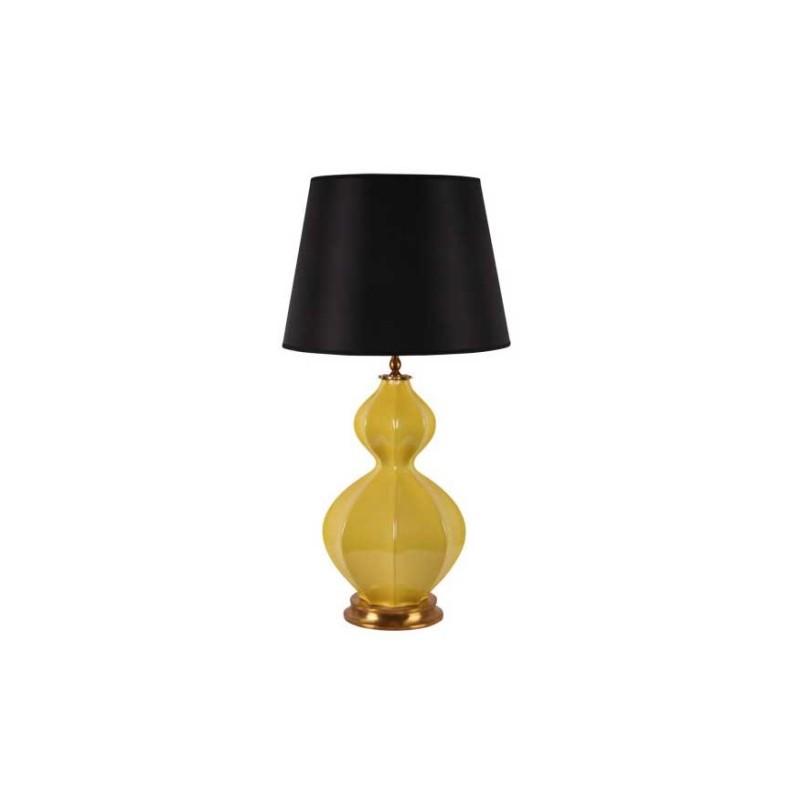superbe lampe de table hexagonale en porcelaine jaune base en laiton. Black Bedroom Furniture Sets. Home Design Ideas