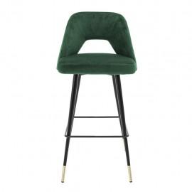 Chaise de Bar Enzo Velours Vert Profond