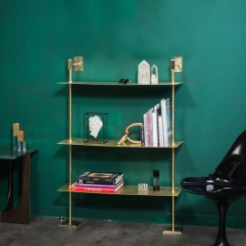 Rack 3 Shelves Shiny Brass