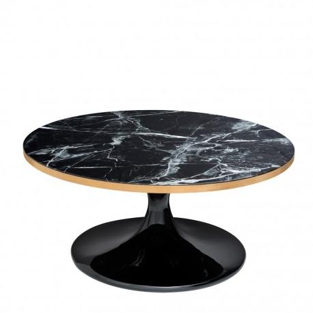 Belle Table Basse Noire ronde design avec son plateau en faux marbre ...