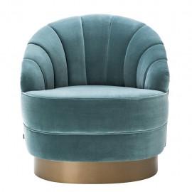 Fauteuil Velours Monroe Mid Century Turquoise