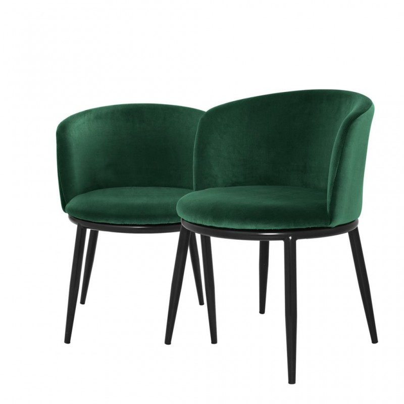 dining chair balmore green velvet set of 2 in the style of the 50s with an irreproachable finish. Black Bedroom Furniture Sets. Home Design Ideas