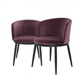 Dining Chair Balmore, Purple Velvet set of 2