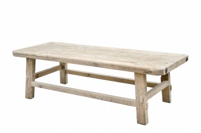 Table Basse En Pin.Grande Table Basse Entierement Realisee En Pin Recycle Brut Naturel