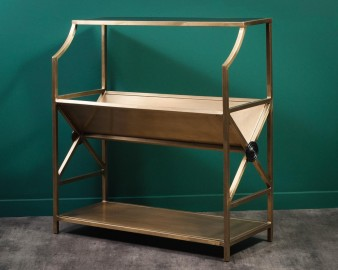 Inclined book rack, brass finish