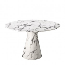 White Faux Marble Round Dining Table Enzo