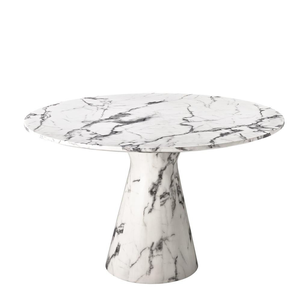 Beautiful Round Design White Faux Marble Table With Its Tray Of 119 5cm In Diameter And Conical Leg