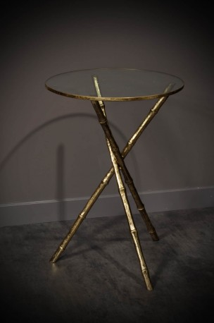 Round 60's Antic Brass Side Table