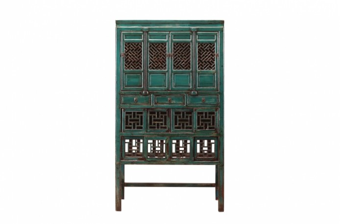 Old Blue Lagoon Chinese Cabinet 1900s
